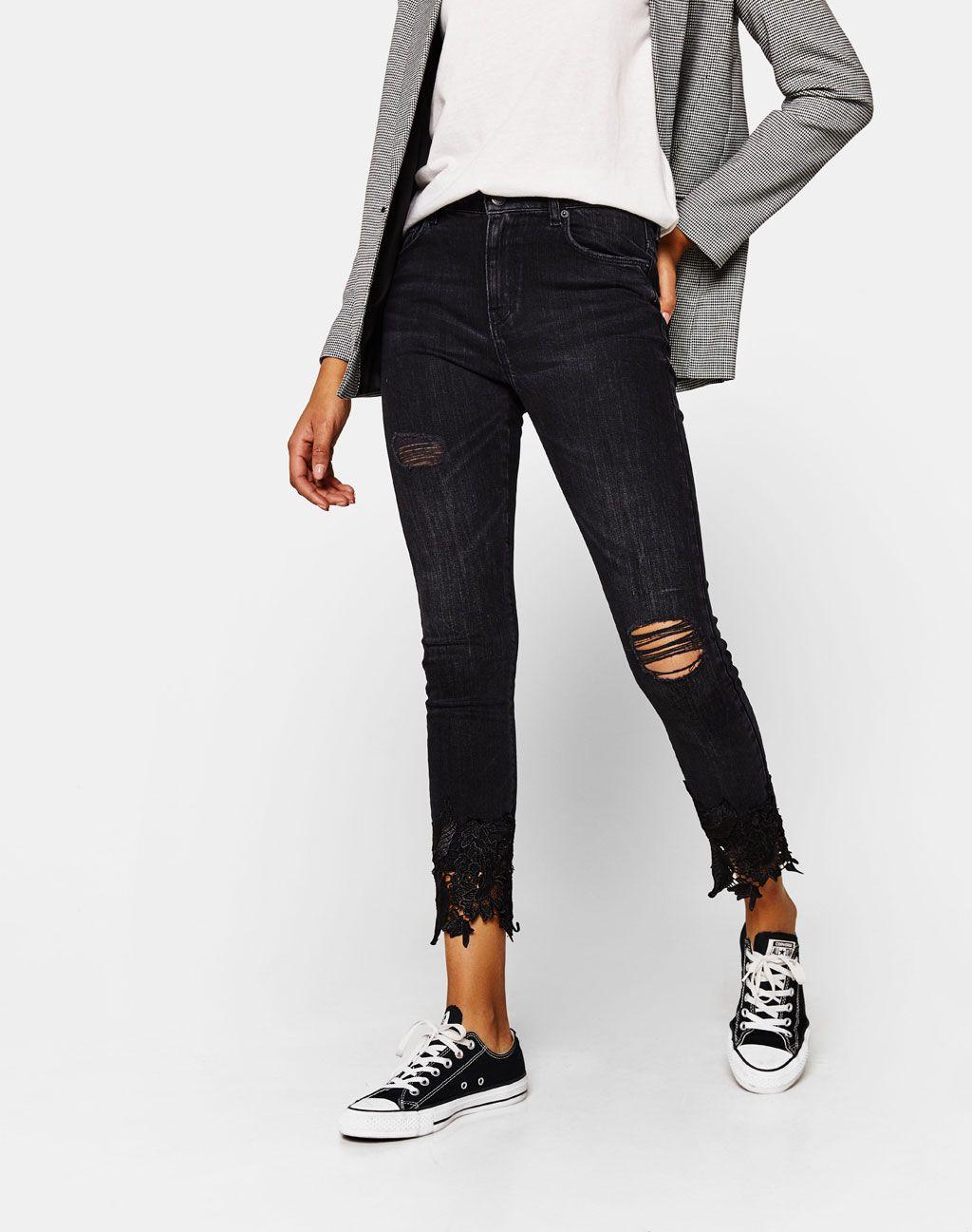 2c1e164c Jeans Slim Fit con detalle de guipur | SS19 Denim | Jeans, Jeans fit ...