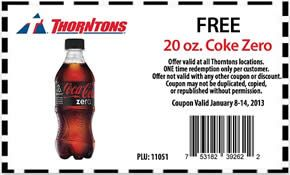 image relating to Coke Printable Coupons named No cost 20 oz Coke Zero at Thorntons Freebies Printable