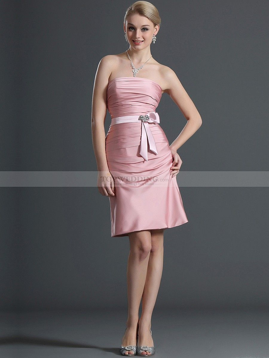 Strapless sheath style short satin chiffon bridesmaid dress with strapless sheath style short satin chiffon bridesmaid dress with bow sash ombrellifo Images