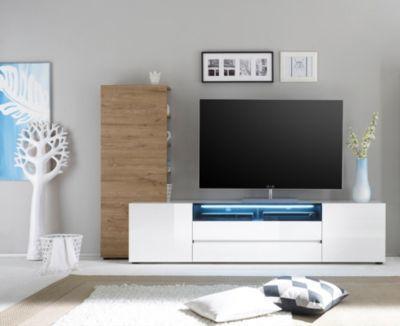 TV Lowboard mit Regal weiss Hochglanz/ Eiche natur Jetzt bestellen