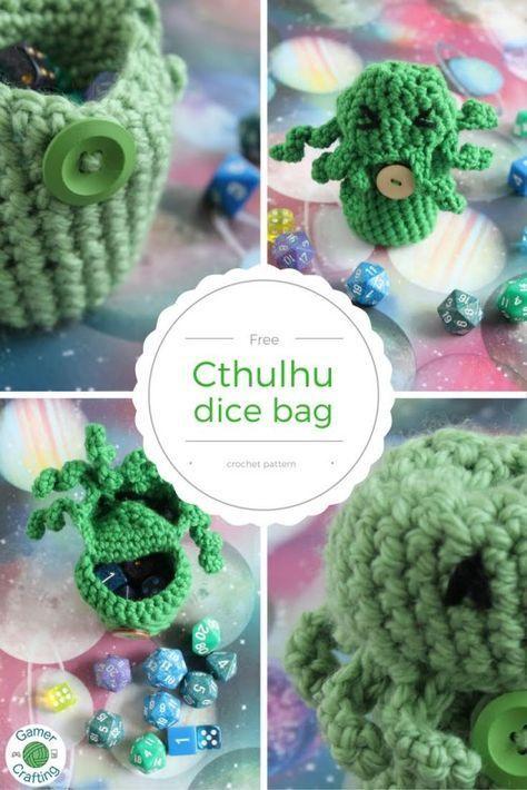 Free Cthulhu dice bag crochet pattern | Patrones amigurumi y Patrones