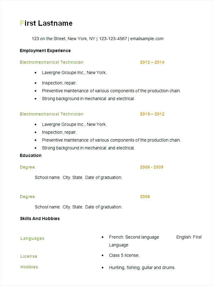Free Resume Templates Basic Resume Examples Basic Resume Free Resume Template Download Simple Resume Template