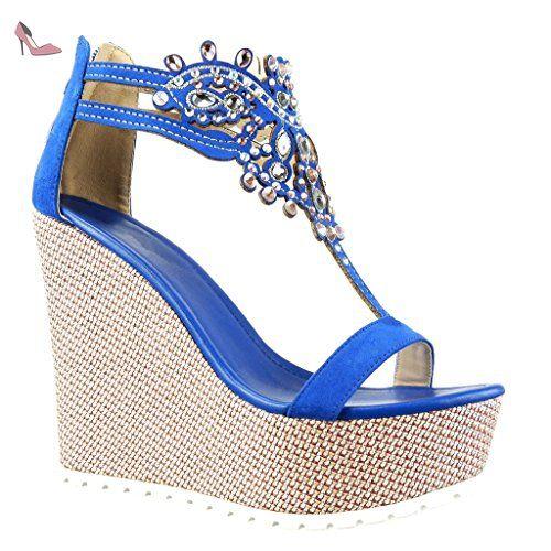 09db6d8e3aa Angkorly - Chaussure Mode Sandale salomés plateforme femme bijoux brodé  Talon compensé plateforme 13 CM -