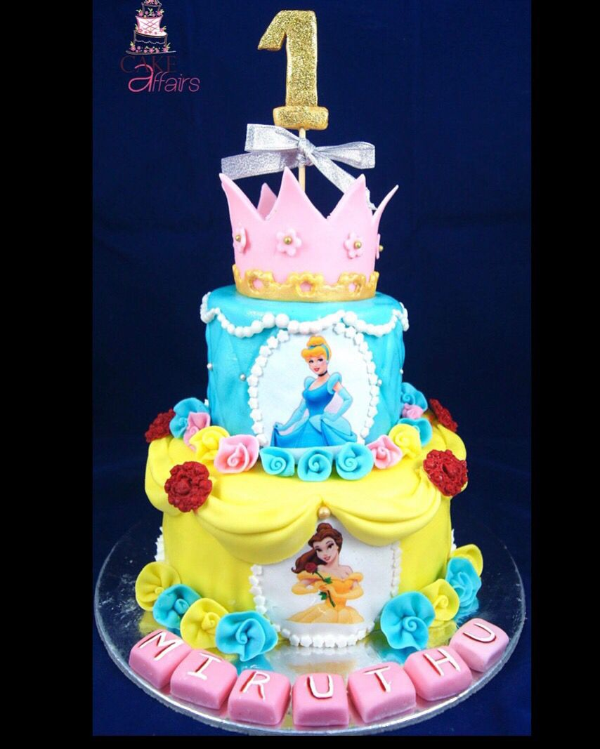 Princess theme cake Cinderella Belle Went out to a baby turning 1