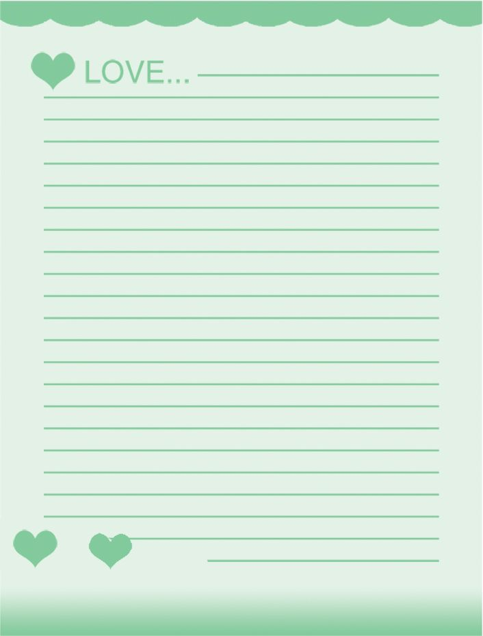 Lovely Printable Lined Project Paper Free School Writing Paper Template With Green  Hearts And Love . And Lined Stationary Paper