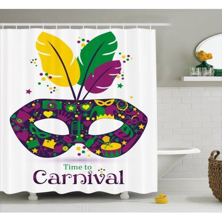 Mardi Gras Shower Curtain Time To Carnival Themed Design Mask With Icons And Feathers Fabric Bathroom Set Hooks 69W X 75L Inches Long