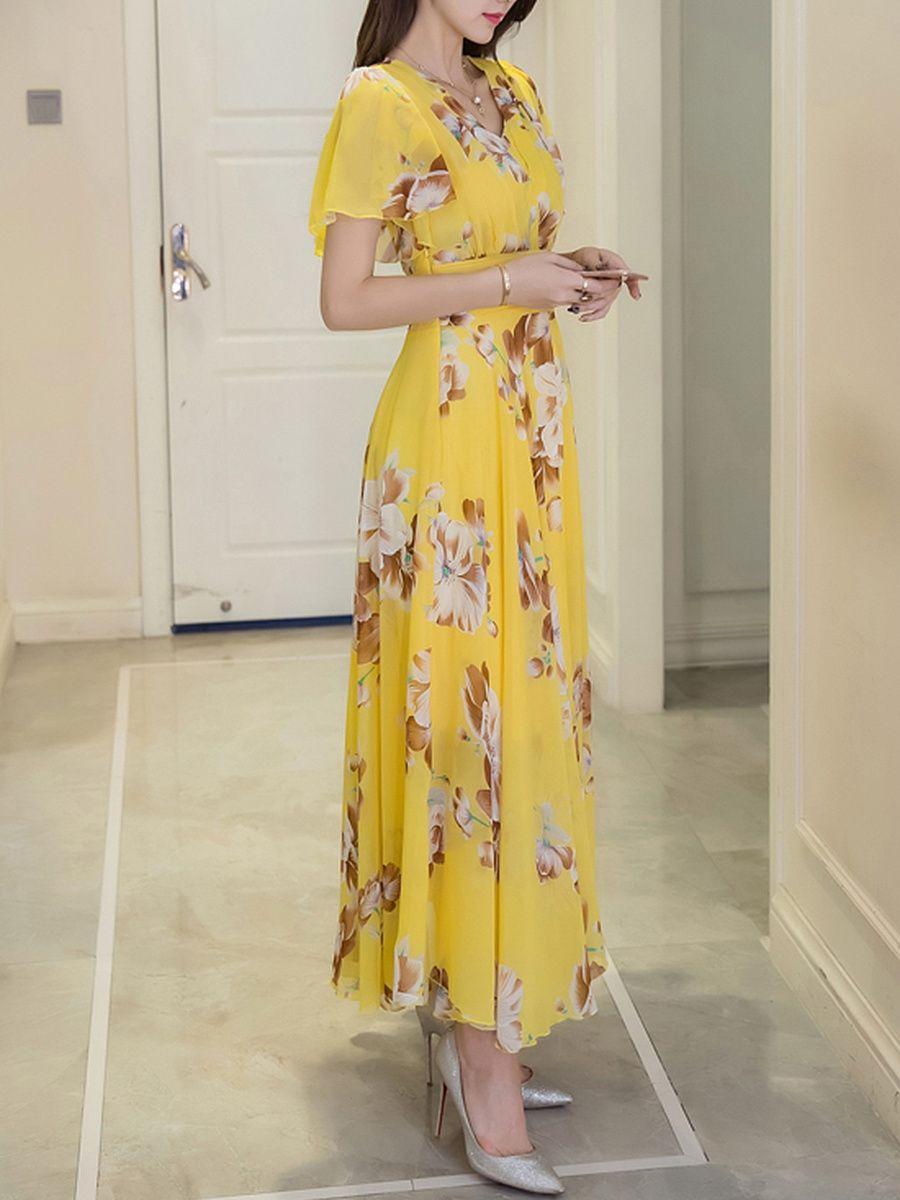 Summer V Neck Floral Printed Chiffon Maxi Dress Maxi Dress Chiffon Maxi Dress Style Maxi Dress [ 1200 x 900 Pixel ]