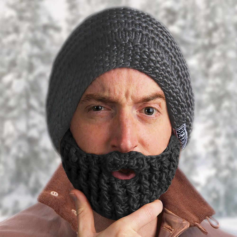 This is the knit cap with a foldaway detachable beard that evokes ...