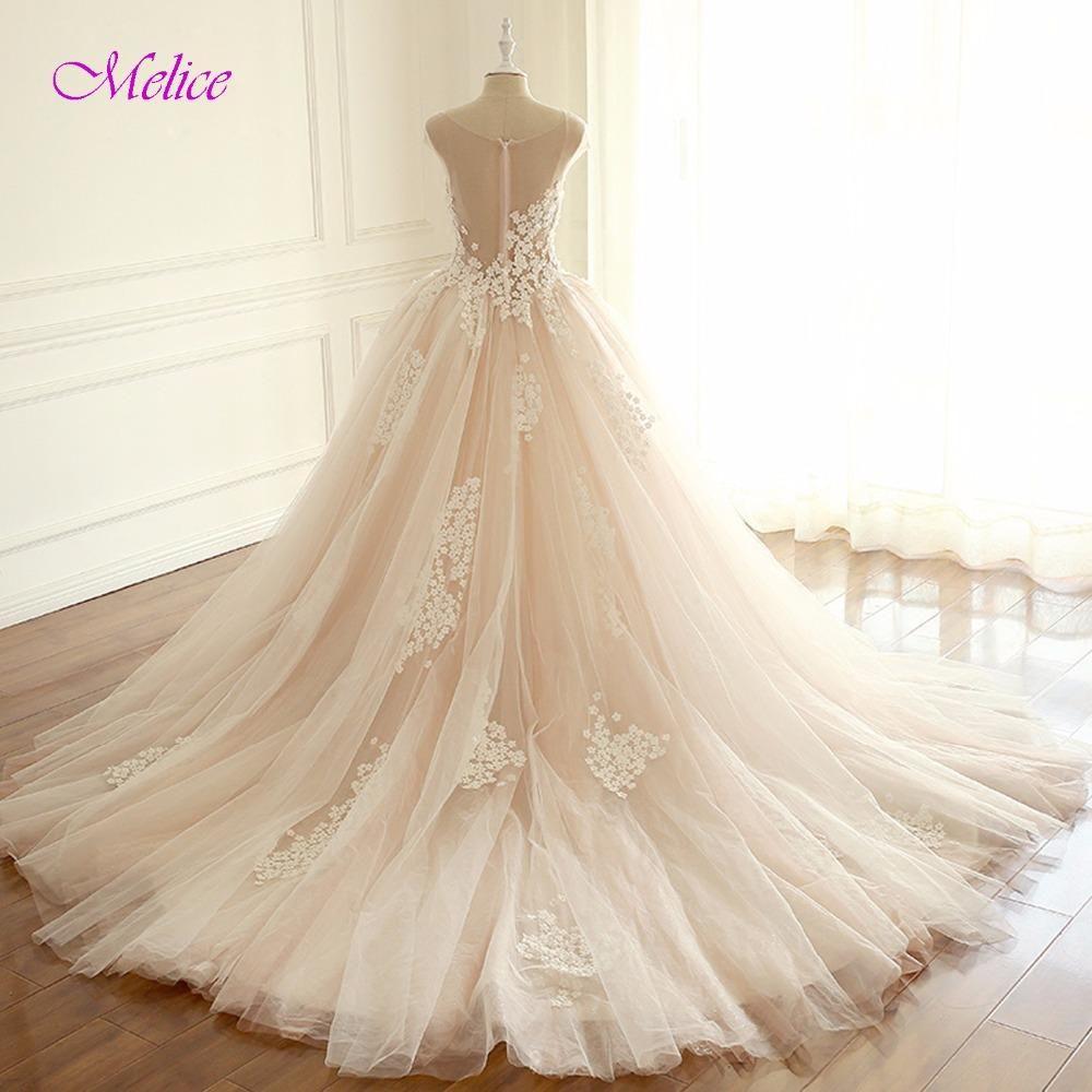 7e34b5bca5a Melice Romantic V-Neck Robe De Mariage Ball Gown Princess Wedding Dress 2017  Appliques Cap Sleeve Bridal Dress Vestido de Noiva