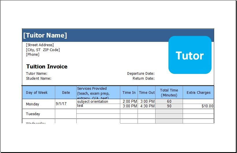 Tuition Service Invoice Invoice Template Tuition Invoicing