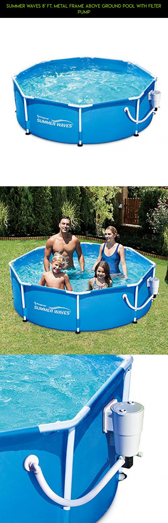 Summer Waves 8\' Ft. Metal Frame Above Ground Pool with Filter Pump ...