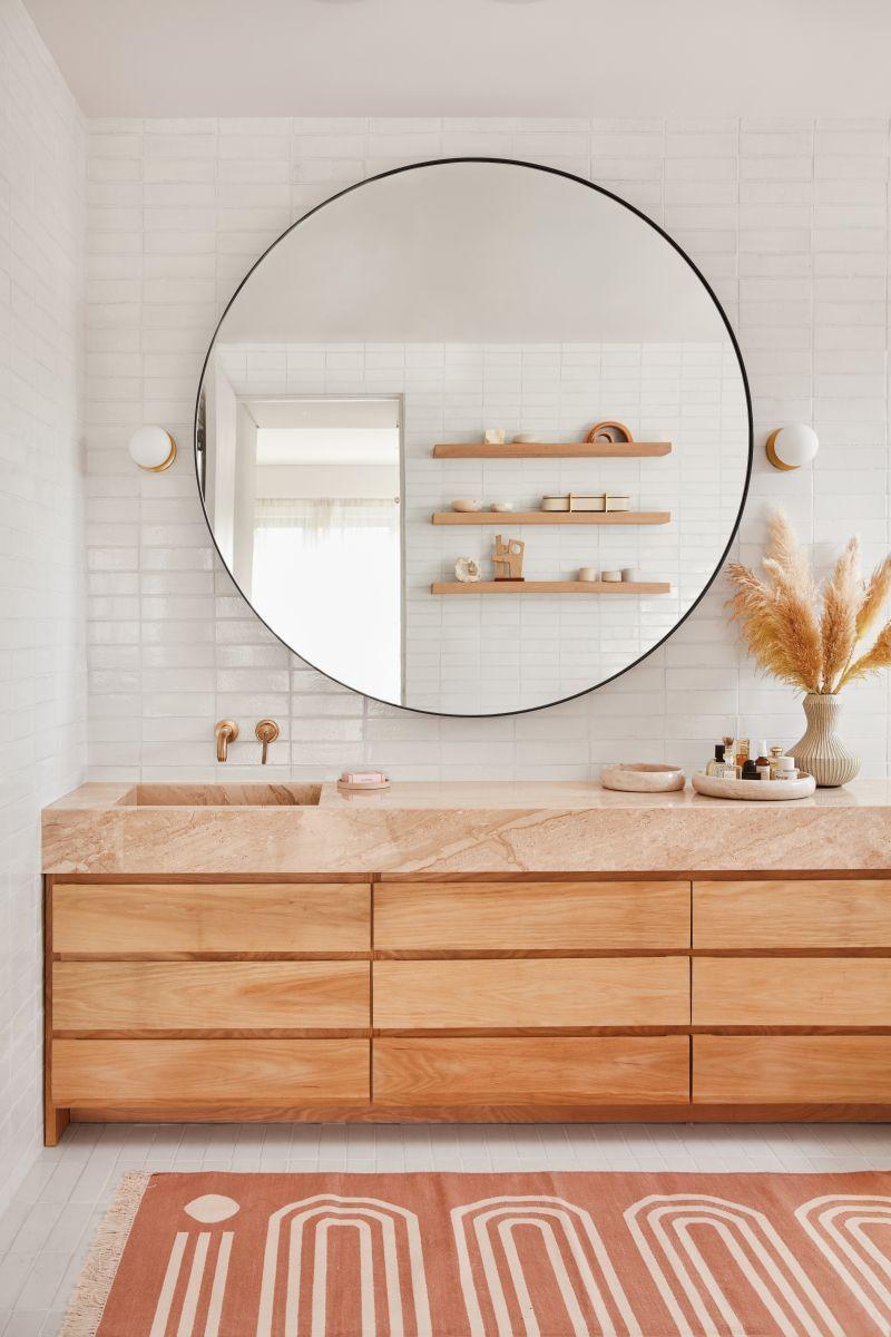 XXL mirror   Fully tiled bathroom, Round mirror bathroom, Bathroom inspiration
