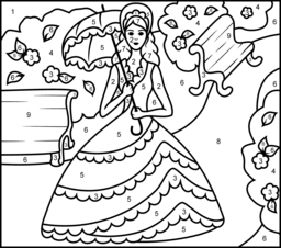 Princess In Garden Printable Color By Number Page Princess Coloring Pages Coloring Pages Princess Coloring