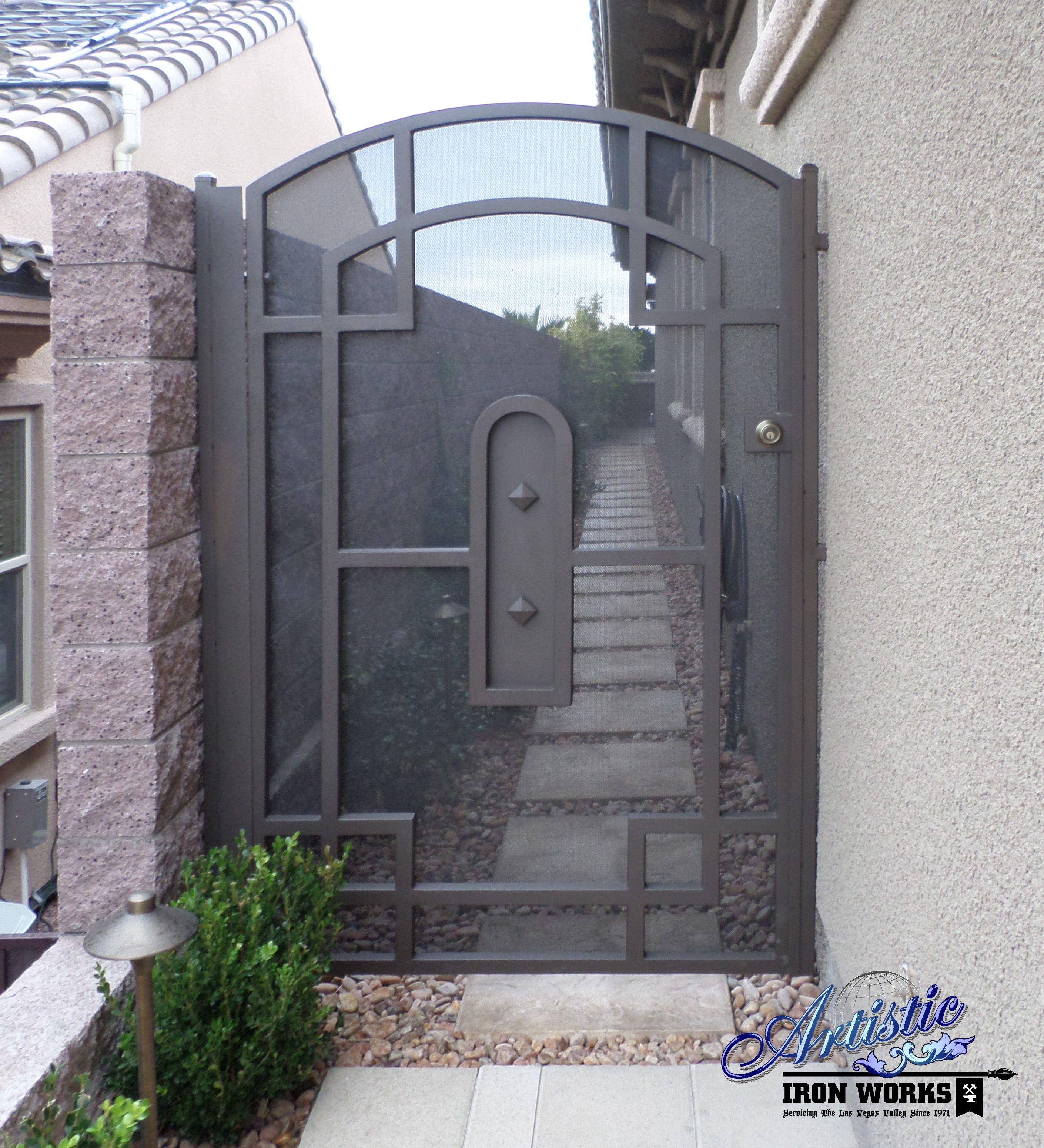 Wrought Iron Side Gate With Metal Screen With Images Fence