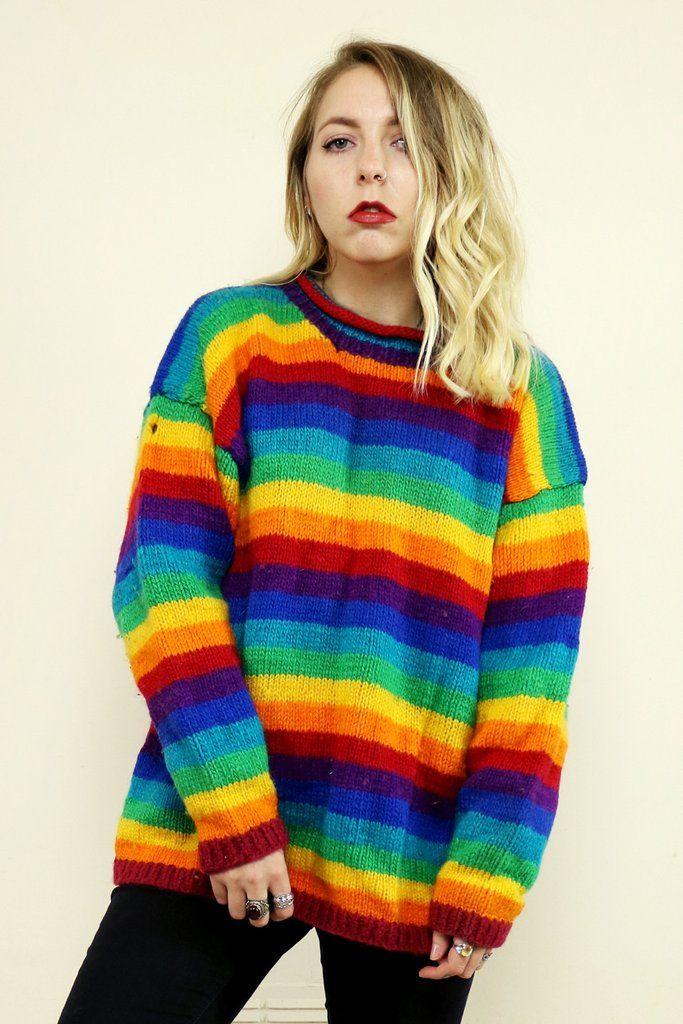 2573f8ca65 Vintage 90 s Chunky Rainbow Knit Striped Jumper