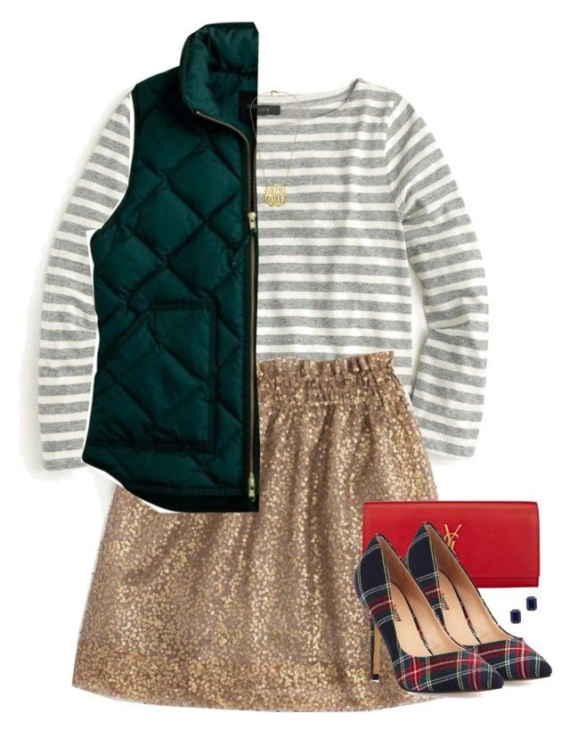 """""""Stripes, Shimmer, and Plaid"""" by hayley-tennis ❤ liked on Polyvore featuring J.Crew, Yves Saint Laurent, Neiman Marcus and Kate Spade"""