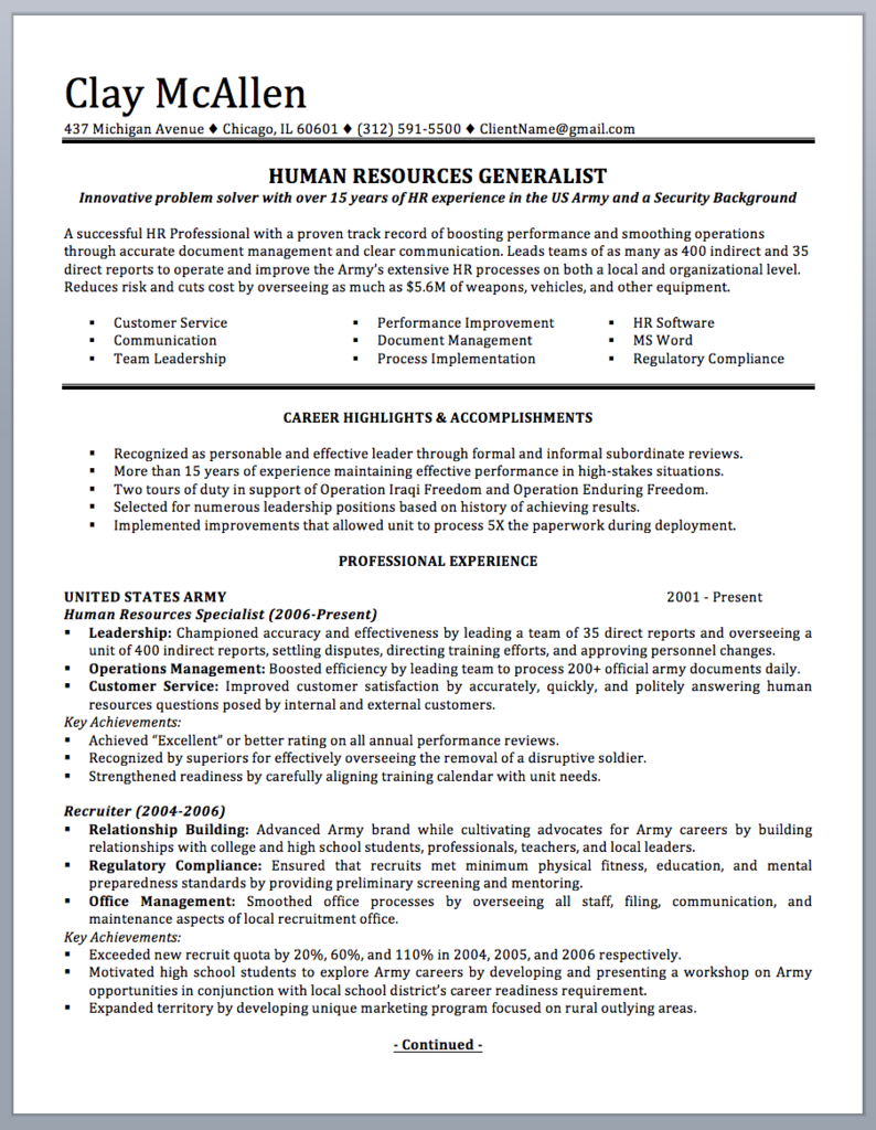 professionally written military resume to civilian sample