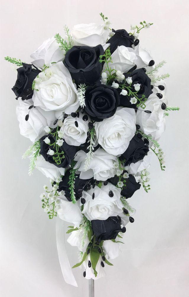 Artificial Silk Flowers Black White Roses Teardrop Wedding Bouquet
