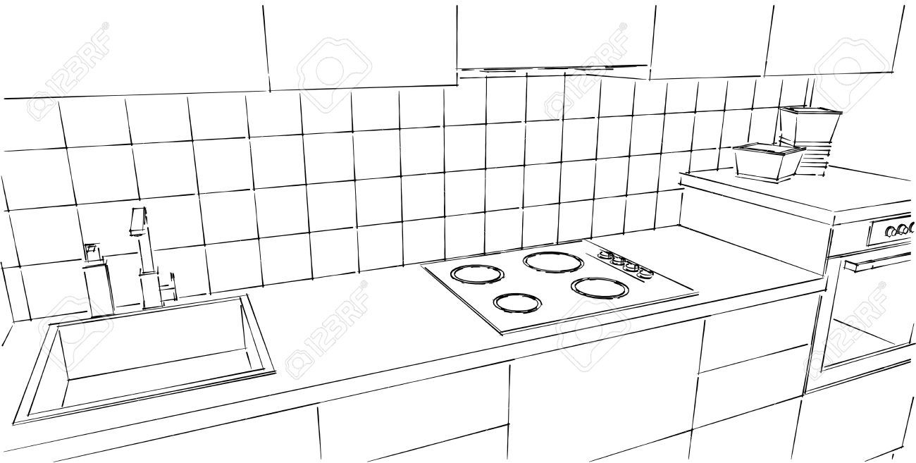 Kitchen Drawing Perspective Two Point Perspective 123rfcom Kitchen Counter Close Up Black And White Line Drawing Top Perspective