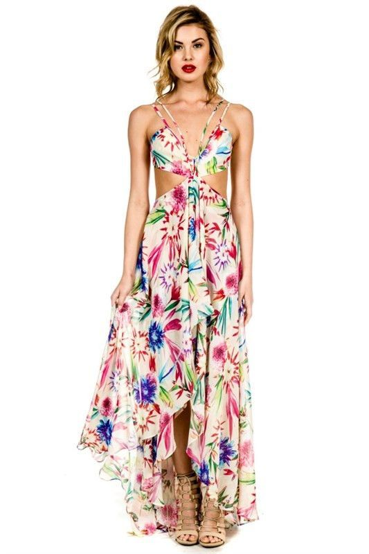 8580bd68a Electric Feel Tropical Maxi Dress Cruise Attire, Tropical Dress, Halter  Neck, Summer Looks