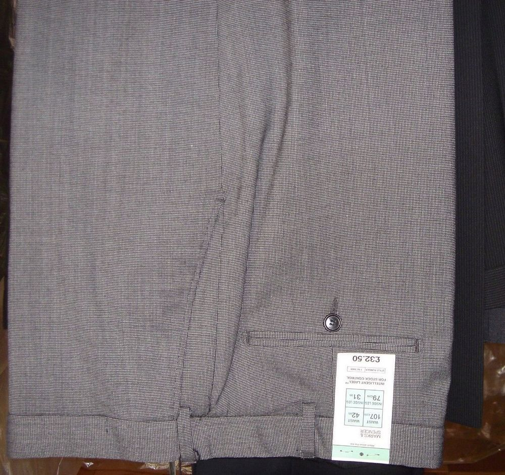 Marks & Spencer Tailoring Performance Gray Black New Tags Size 42 / 31 Pants #MarksandSpencer #DressFlatFront