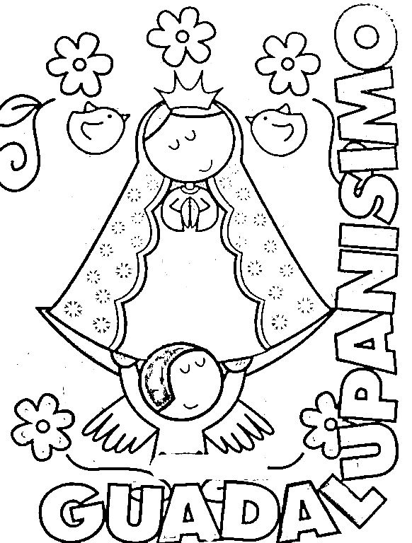 Modern Virgin Of Guadalupe Coloring Pages Virgencita Our Lady