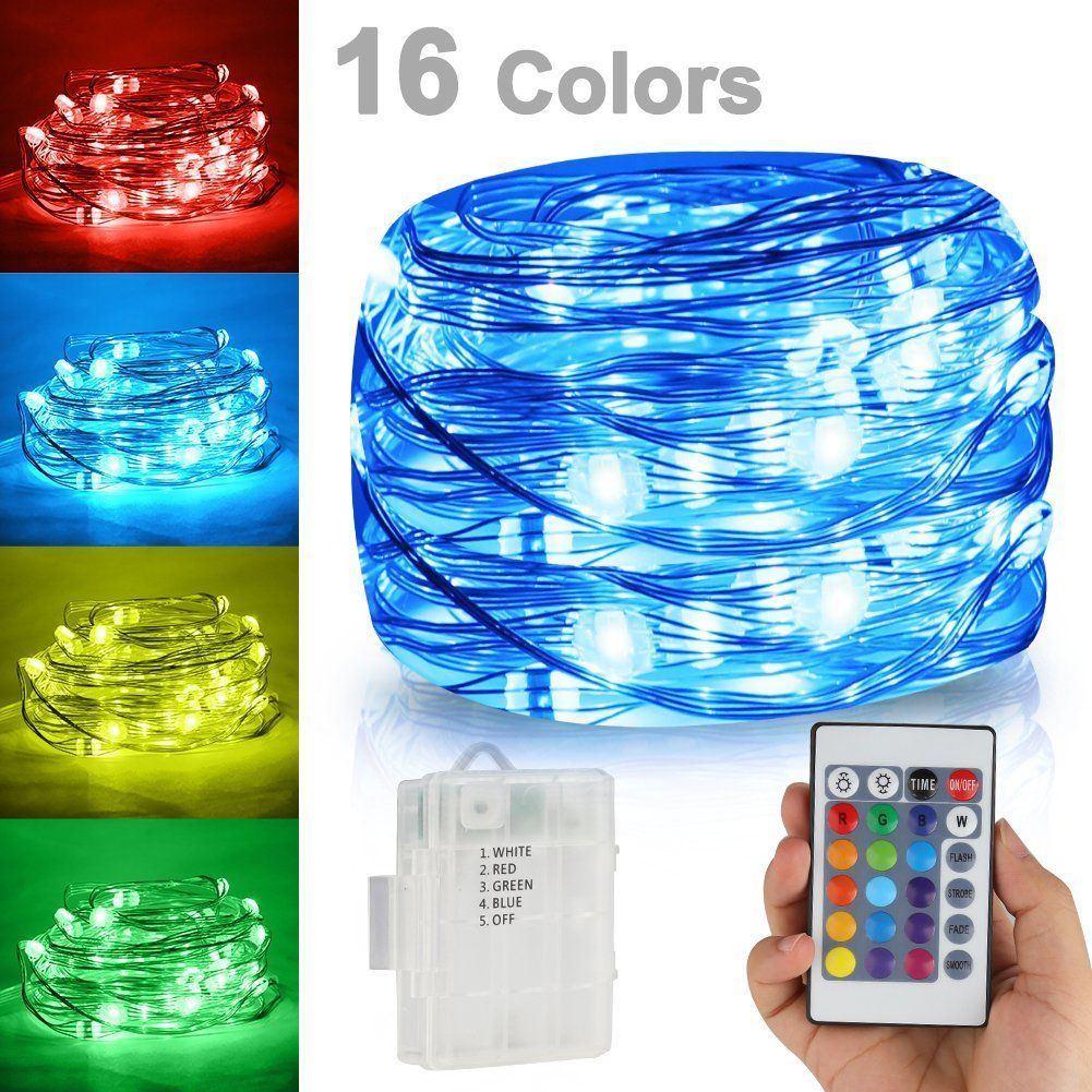 Led string lightsbattery powered multi color changing string lights led string lightsbattery powered multi color changing string lights with remote50leds indoor decorative silver wire lights for bedroom patio outdoor aloadofball Choice Image