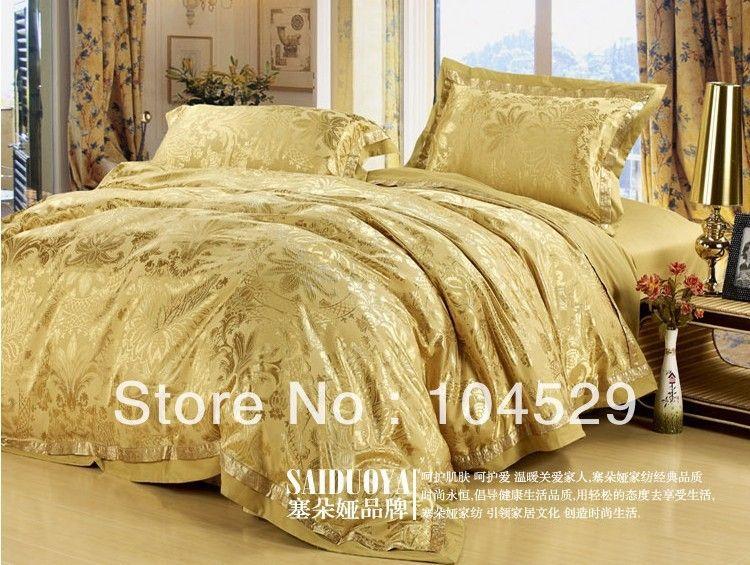 For Suppliers Clic European Style Silk Gold Le Luxurious King Queen Wedding Bedding Set Bed Sheet Comforter Duvet Cover
