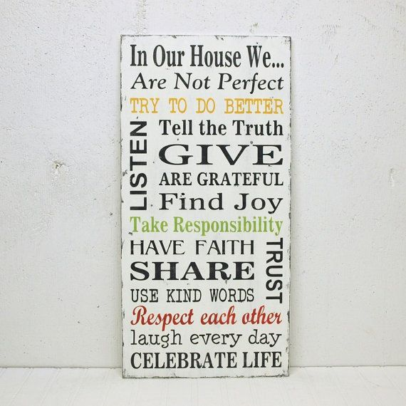 Family Rules Wood Sign Home Decor In Our House By