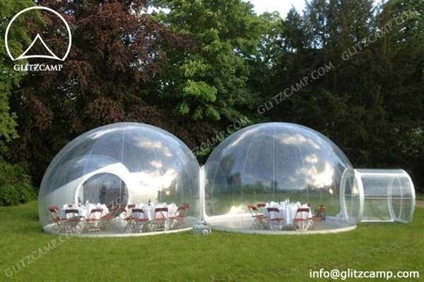 Connected Clear Bubble Tent Forming Better Space - Glitzc& Gl&ing Tent Hotel -Luxury Lodge Tent- Safari Tents-Eco Dome House For Tent Resort & Double Clear Dome Tent - Living Dome - Camping Geodome http://www ...