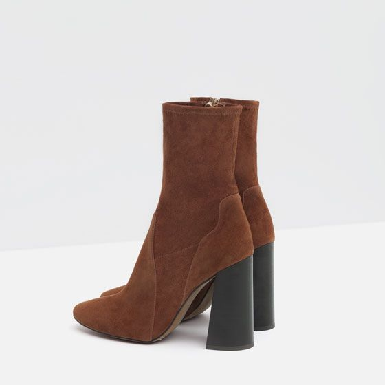 from 5 Image of ANKLE BOOTS LEATHER HIGH ZaraShoe HEEL gfb7y6