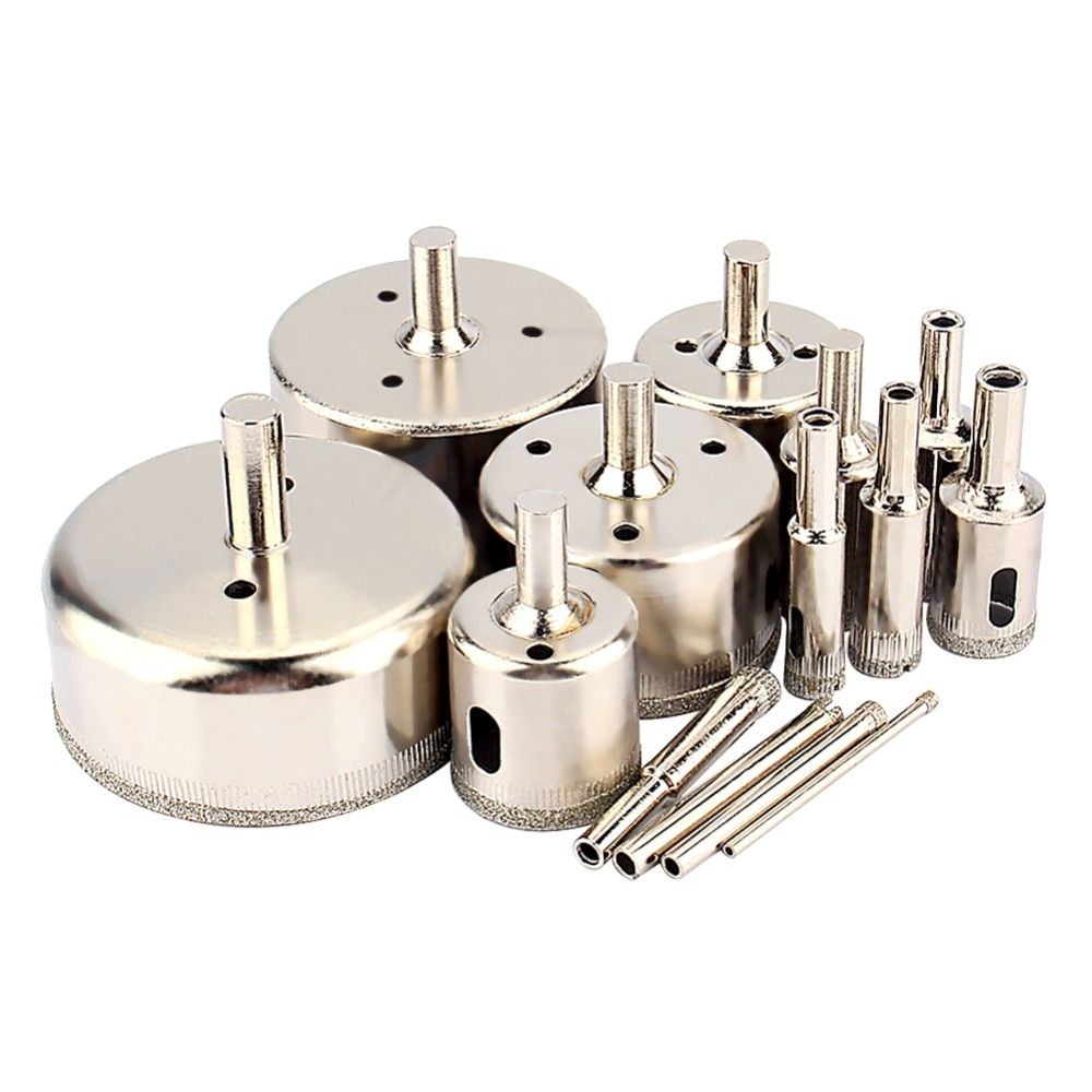 14pcs Set Diamond Glass Cutter Coated Hole Saw Drill Bit Tool For Glass Marble Tile Wood Tools 3mm To 70mm 800rpm 1000rpm Glass Cutter Glass Marbles Tiling Tools