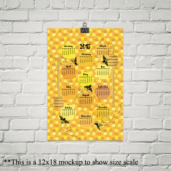2018 Calendar, Bees on Honeycomb, Kitchen Wall Art, Large Wall ...