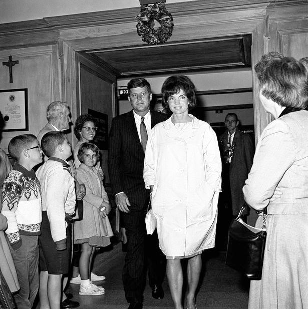 The President and First Lady visiting sick Joe Kennedy Sr. at St. Mary's Hospital in Palm Beach Florida, Christmas Day 1961.