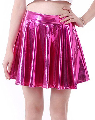 09155719f0191 HDE Women's Solid Color Metallic Flared Pleated Club Skater Skirt (Hot  Pink, Small)
