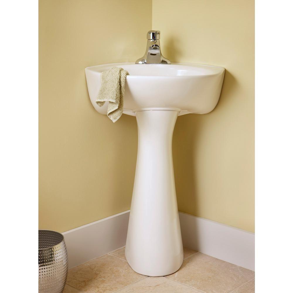 American Standard Cornice Vitreous China Pedestal Combo Bathroom Sink In White Sink Traditional Bathroom Corner Pedestal Sink