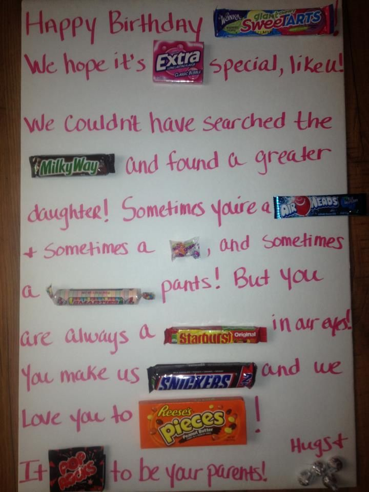 Candy Birthday Card I Made For My 14 Yr Old Daughter