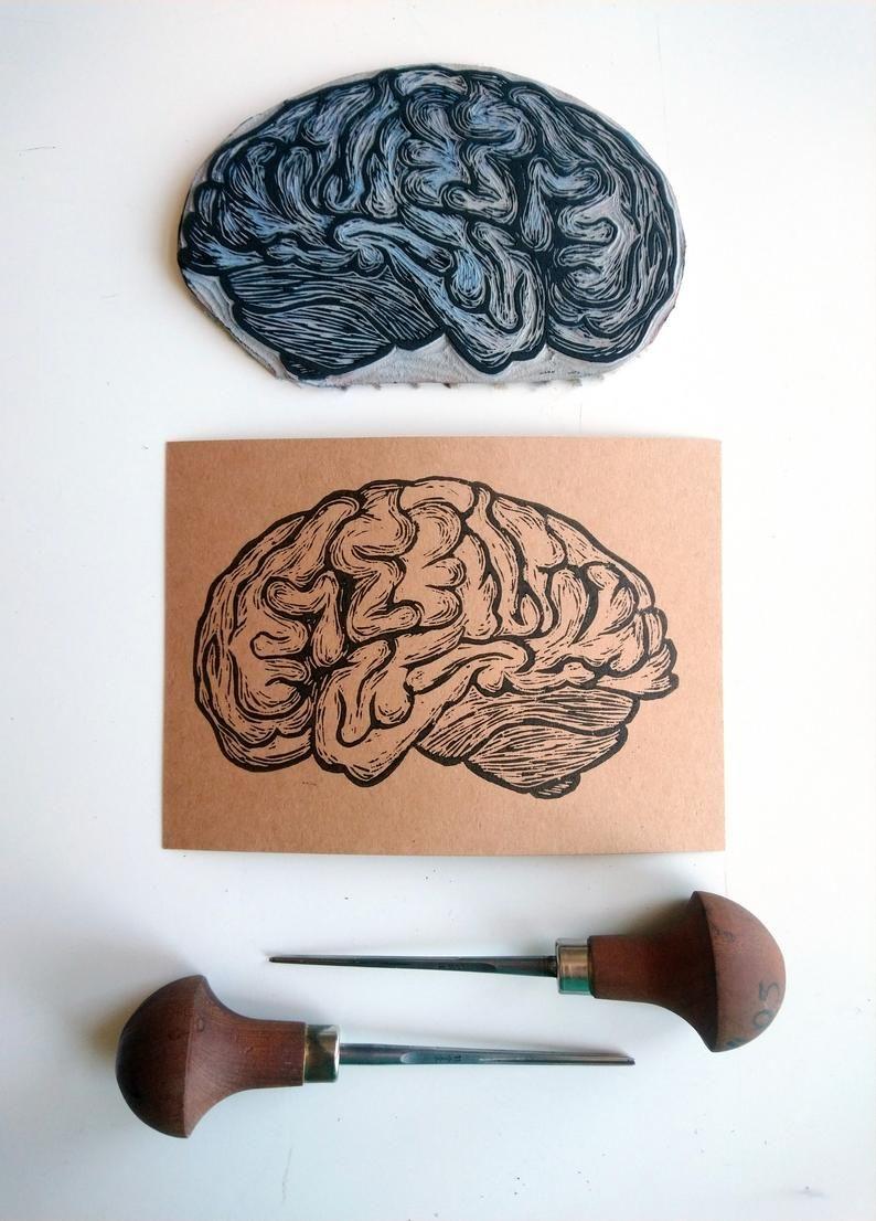 Brain Postcard // Human Anatomy Card // Greeting Card // Linocut