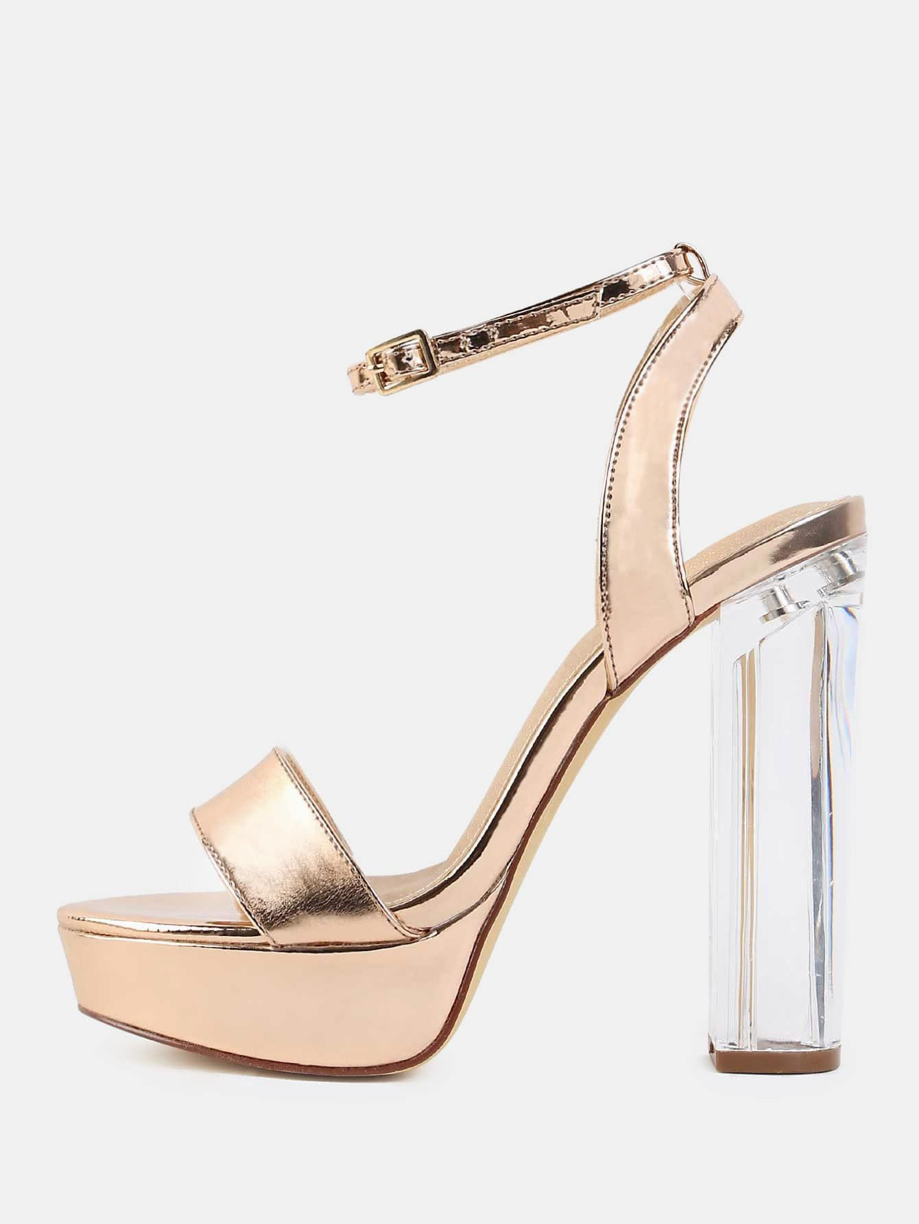 97352d87e99 Glamorous Peep Toe Platform Ankle strap Gold High Heel Chunky ...