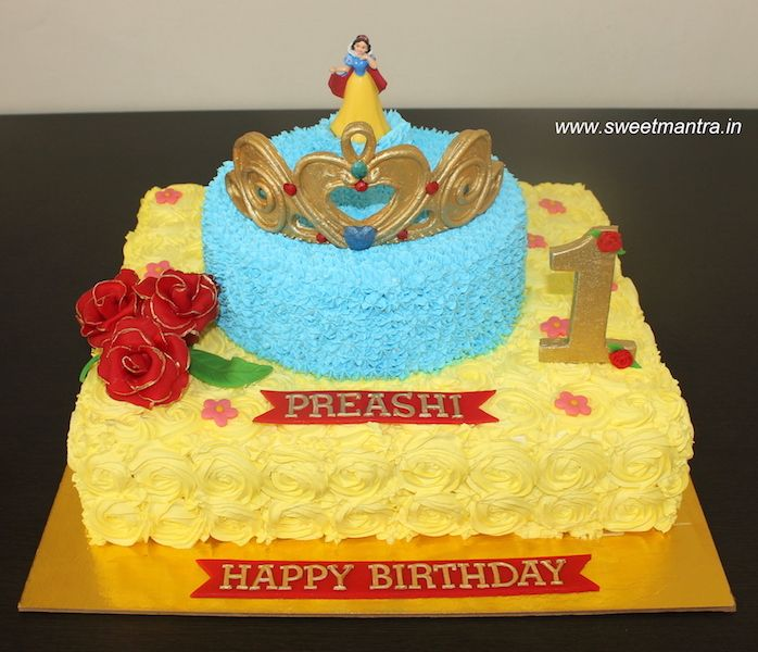 Princess Theme 2 Layer Designer Fresh Cream Cake With Edible Tiara