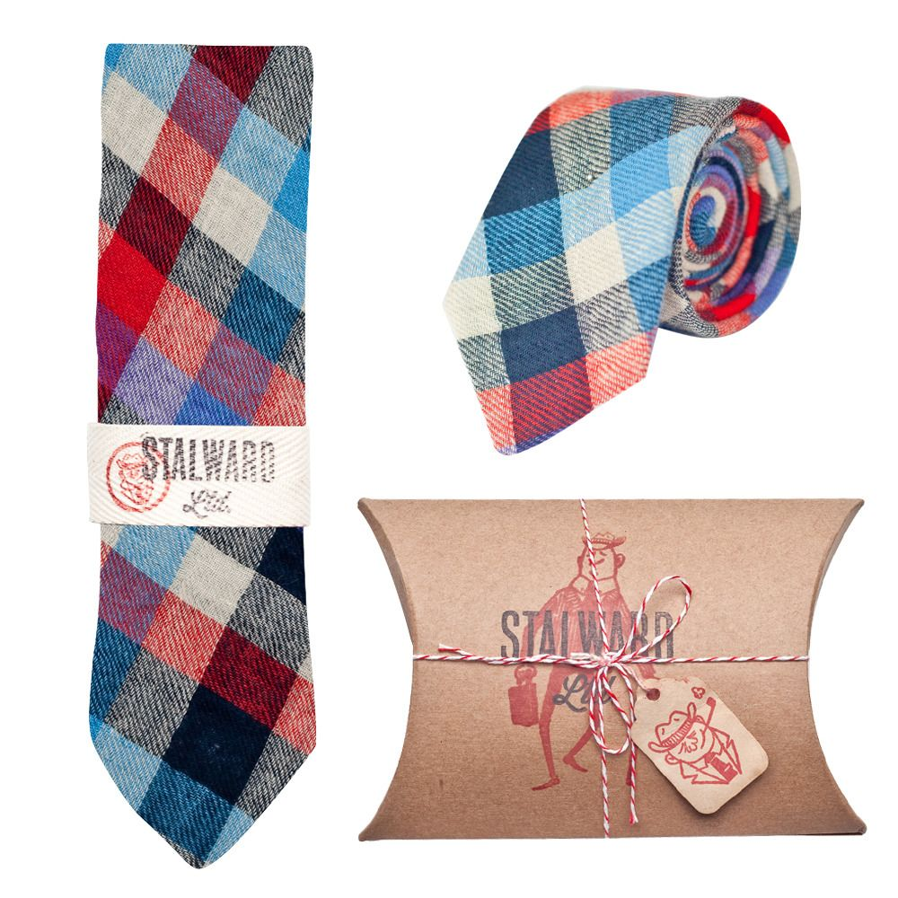aae7d88e4ba7 Buy him a Stalward Ltd Blue Red Plaid tie. | Gifts for Bearded ...