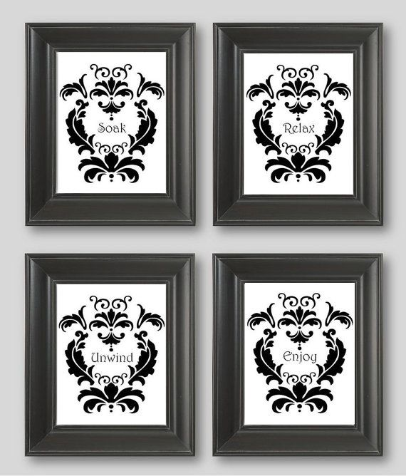 Black And White Damask Design Set Of Four Art Prints Soak Relax Unwind Enjoy Bathroom Decor Matches Curtains
