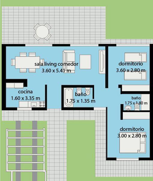 Vivienda de construcci n en seco 65 m2 steel framing de 2 for Planos de viviendas de 2 dormitorios