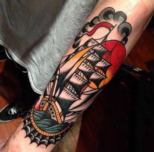 Tattoo Ideas Classic Ships Piercing Ideas Tattoo: Awesome Ship Tattoo On Arm!!!