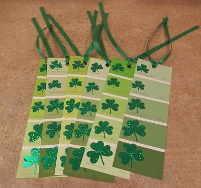 St. Patrick's Day Party Favors for Kids- bookmarks from paint samples & a shamrock punch!