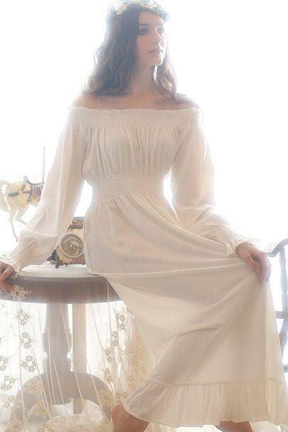 Off-the-shoulder Vintage Nightdress  008319d1f