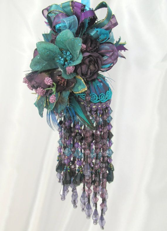 Dark Peacock Plum, Purple, Black and Teal Victorian Beaded ...