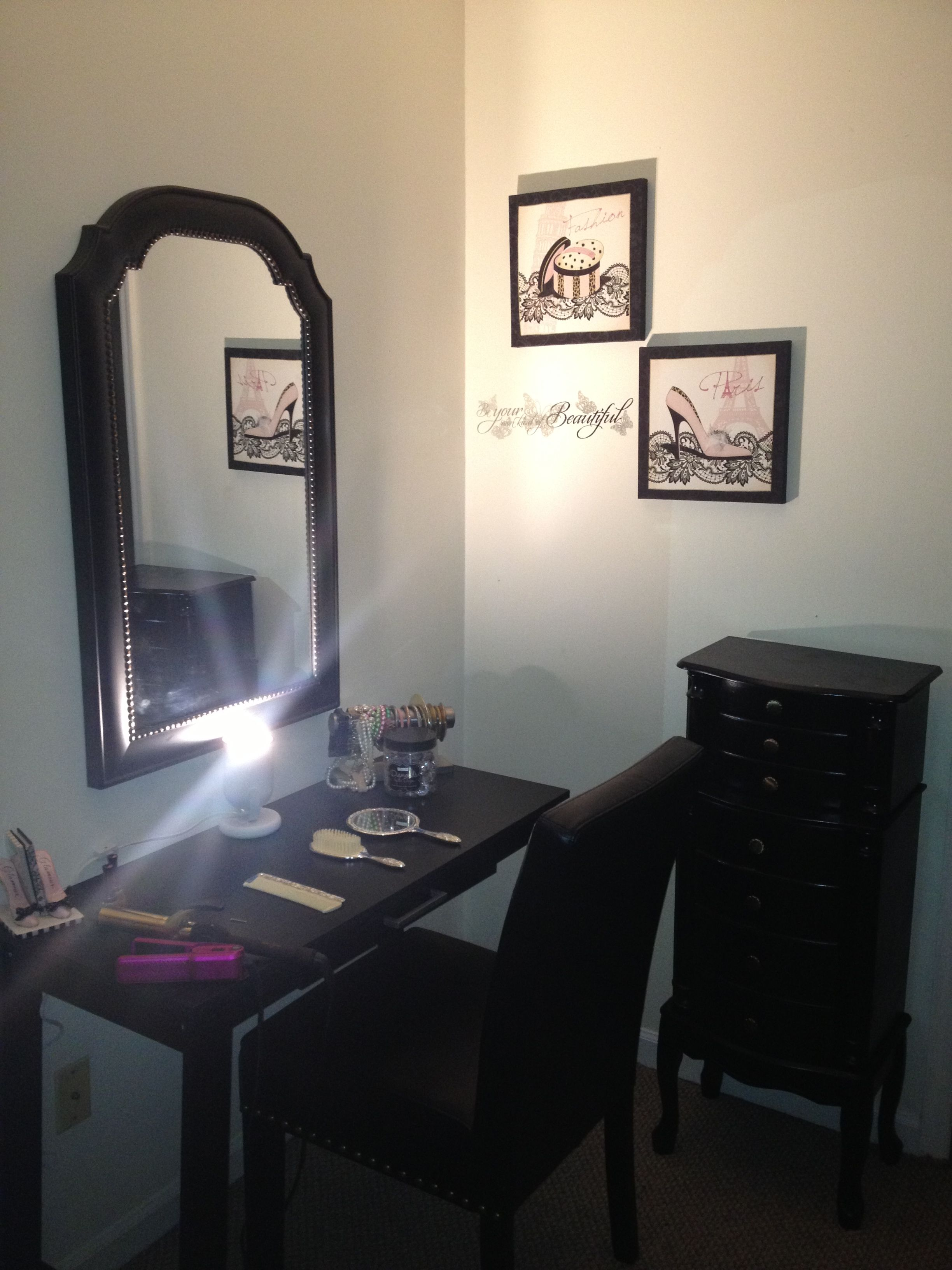 Vanity table from Walmart (writing desk), mirror from Home