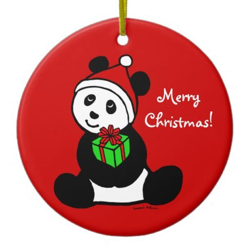 Personalized Christmas Panda Santa Hat Christmas Tree Ornaments #panda #bear #Christmas #ornament #cute #animal