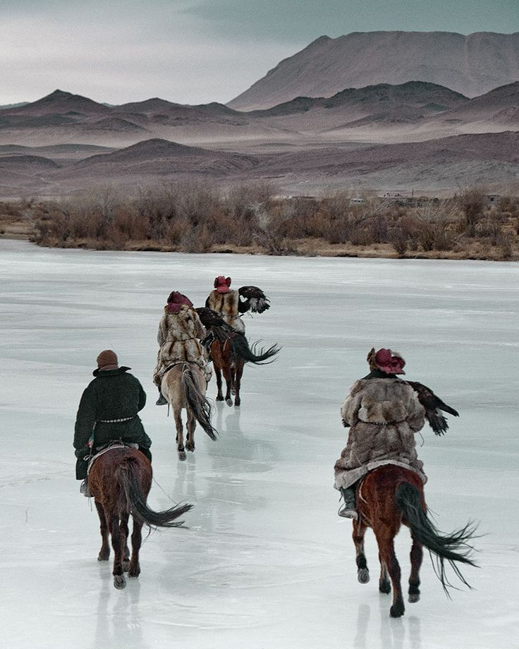Kazakh eagle hunters in Western Mongolia.